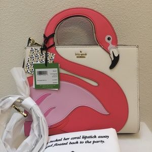 Rare!! Kate Spade by the pool flamingo Sam Satchel